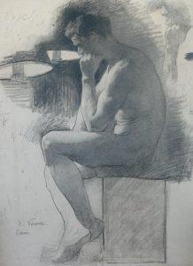 NU MASCULINO SENTADO - CARVÃO SOBRE PAPEL - 62 x 46 cm - c.1896 - COLEÇÃO PARTICULAR