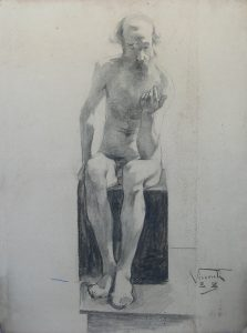 NU MASCULINO SENTADO - CARVÃO SOBRE PAPEL - 62 x 47 cm - 1888 - COLEÇÃO PARTICULAR