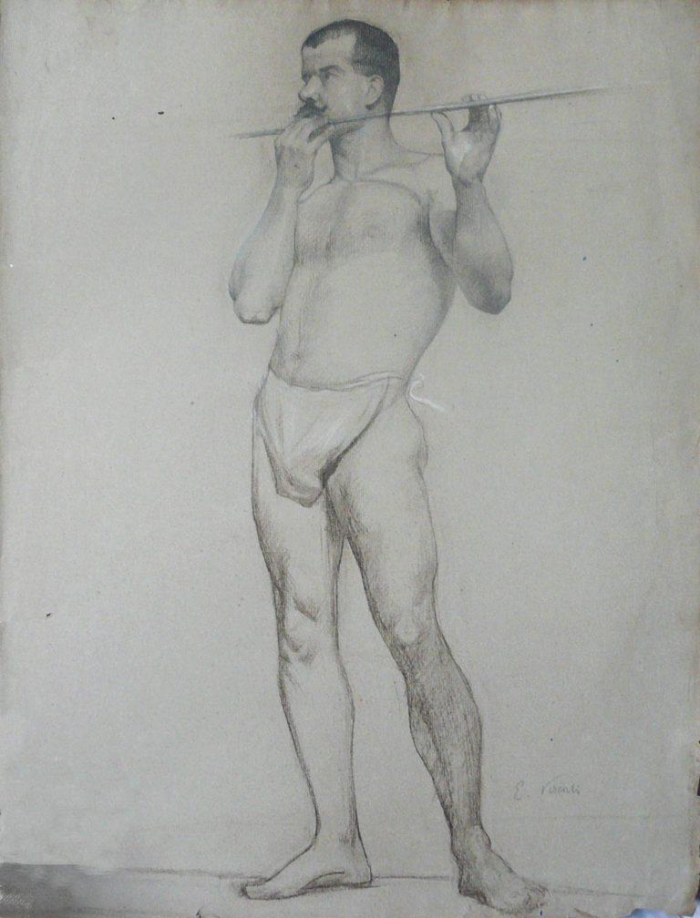 NU MASCULINO DE PÉ - CRAYON E GIZ SOBRE PAPEL - 63 x 47 cm - c.1896 - COLEÇÃO PARTICULAR
