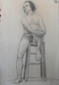 NU MASCULINO SENTADO - CARVÃO SOBRE PAPEL - 62 x 47 cm - 1896 - COLEÇÃO PARTICULAR