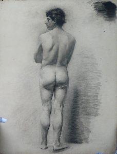 NU MASCULINO DE COSTAS - CARVÃO SOBRE PAPEL - 62 x 47 cm - 1890 - COLEÇÃO PARTICULAR
