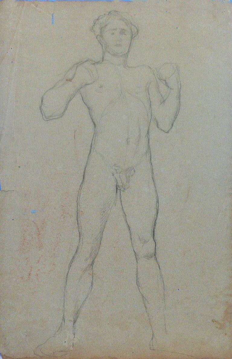 NU MASCULINO DE PUNHOS CERRADOS - CRAYON SOBRE PAPEL - 48 x 31 cm - c.1895 - COLEÇÃO PARTICULAR