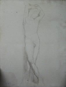 NU MASCULINO COM BRAÇOS NA CABEÇA - CRAYON SOBRE PAPEL - 62 x 47 cm - c.1895 - COLEÇÃO PARTICULAR