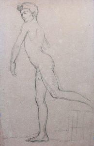 NU MASCULINO EM MOVIMENTO - CRAYON SOBRE PAPEL - 47 x 31 cm - c.1895 - COLEÇÃO PARTICULAR
