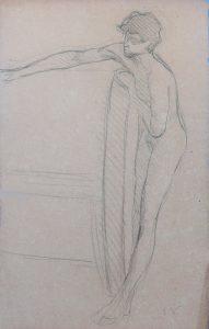 NU MASCULINO - CRAYON SOBRE PAPEL - 47 x 31 cm - c.1895 - COLEÇÃO PARTICULAR