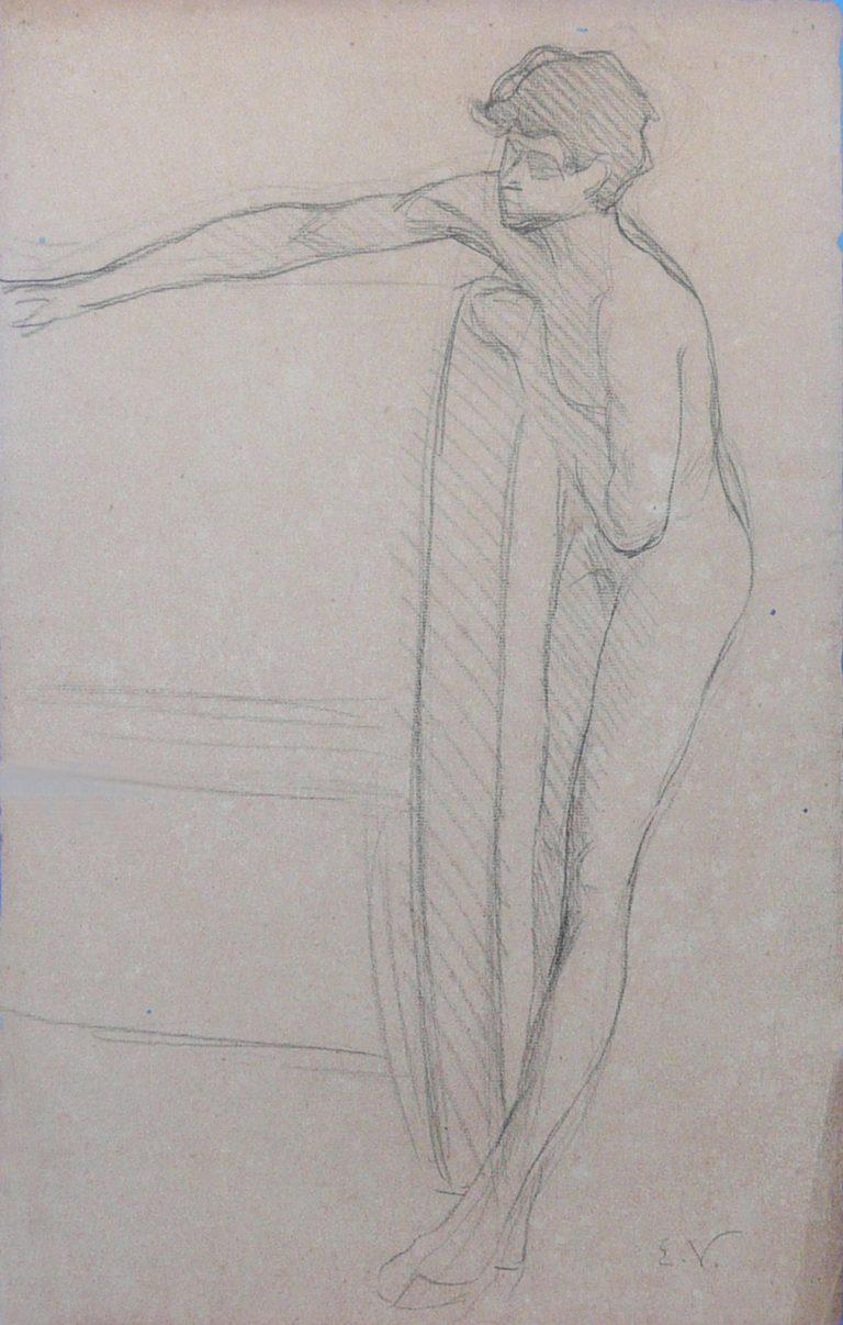 NU MASCULINO - CRAYON SOBRE PAPEL - VERSO DA OBRA D472 - 47 x 31 cm - c.1895 - COLEÇÃO PARTICULAR
