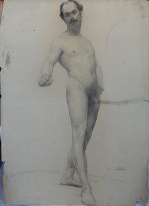 NU MASCULINO FRONTAL - CARVÃO SOBRE PAPEL - 62 x 47 cm - c.1895 - COLEÇÃO PARTICULAR