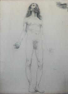 NU MASCULINO DE CABELOS LONGOS - CARVÃO SOBRE PAPEL - 62 x 46 cm - c.1895 - COLEÇÃO PARTICULAR