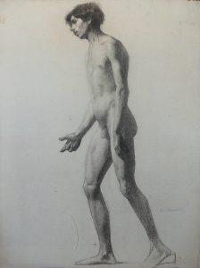 NU MASCULINO DE LADO - CARVÃO SOBRE PAPEL - 62 x 46 cm - 1896 - COLEÇÃO PARTICULAR