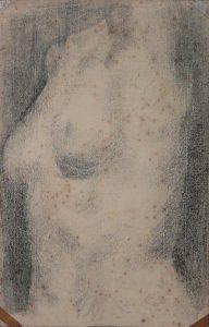 TORSO FEMININO - CARVÃO SOBRE PAPEL - 42 x 32 cm - 1919 - COLEÇÃO PARTICULAR
