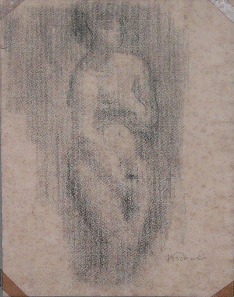 NU FEMININO - CARVÃO SOBRE PAPEL - 31 x 24 cm - c.1896 - COLEÇÃO PARTICULAR