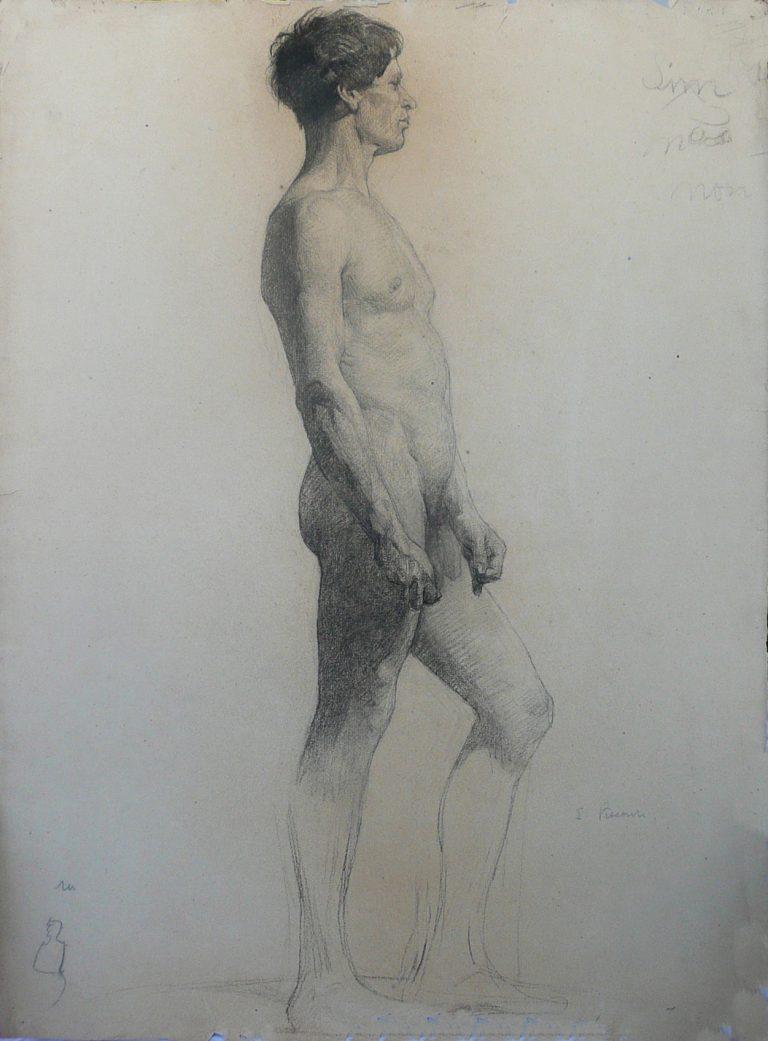 NU MASCULINO DE PERFIL - CARVÃO SOBRE PAPEL - 62 x 47 cm - c.1896 - COLEÇÃO PARTICULAR