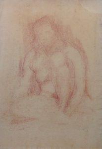 NU FEMININO SENTADO - SANGUÍNEA - 43 x 27 cm - 1918 - COLEÇÃO PARTICULAR