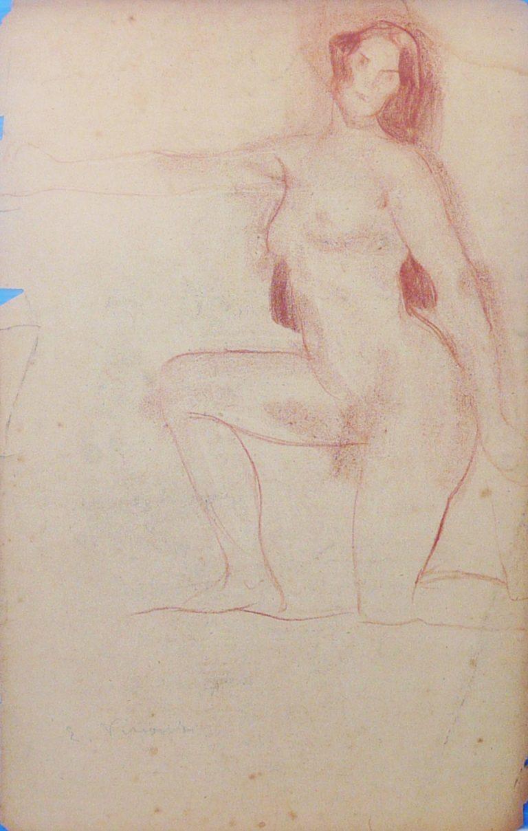 NU FEMININO AJOELHADO - LÁPIS VERMELHO SOBRE PAPEL - 43 x 27 cm - c.1898 - COLEÇÃO PARTICULAR