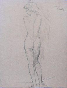 NU FEMININO DE COSTAS - CRAYON SOBRE PAPEL - 32 x 25 cm - c.1898 - COLEÇÃO PARTICULAR