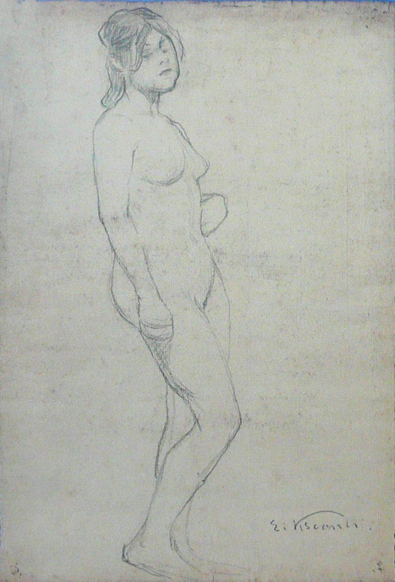 NU FEMININO DE PERFIL - CRAYON SOBRE PAPEL - 34 x 23 cm - c.1897 - COLEÇÃO PARTICULAR