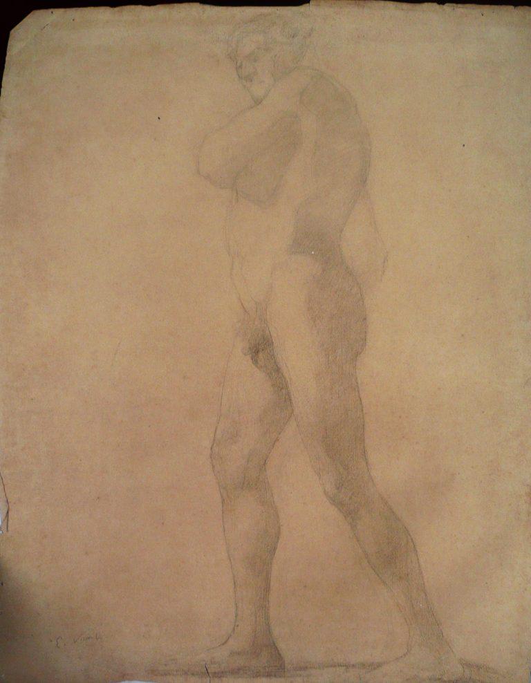 NU MASCULINO DE LADO - CRAYON SOBBRE PAPEL - 63 x 47 cm - c.1897 - COLEÇÃO PARTICULAR