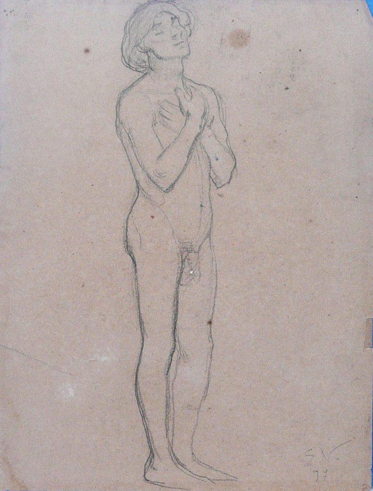 SÃO SEBASTIÃO - ESTUDO PARA RECOMPENSA DE SÃO SEBASTIÃO - CRAYON SOBRE PAPEL - 32 x 24 cm - 1897 - COLEÇÃO PARTICULAR