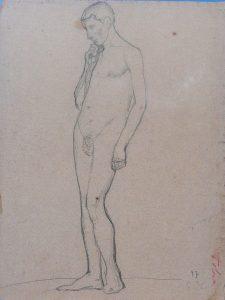 NU COM A MÃO NO QUEIXO - VERSO DA OBRA D486 - CRAYON SOBRE PAPEL - 32 x 24 cm - 1897 - COLEÇÃO PARTICULAR