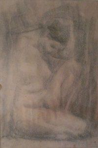 NU FEMININO - CRAYON SOBRE PAPEL - 34,0 x 23,5 cm - c.1900 - SOCIEDADE BRASILEIRA DE BELAS ARTES - RIO DE JANEIRO/RJ