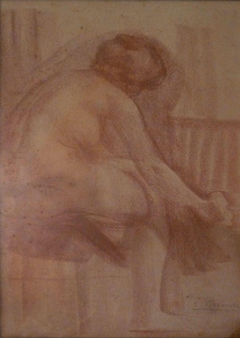 NU FEMININO - SANGUÍNEA - 39 x 24 cm - c.1900 - SOCIEDADE BRASILEIRA DE BELAS ARTES - RIO DE JANEIRO/RJ
