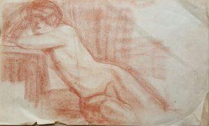 NU FEMININO RECOSTADO - SANGUÍNEA SOBRE PAPEL - 26 x 43 cm - c.1900 - COLEÇÃO PARTICULAR