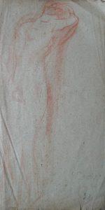 NU FEMININO DE COSTAS - SANGUÍNEA SOBRE PAPEL - 43 x 23 cm - 1919 - COLEÇÃO PARTICULAR