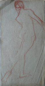 NU FEMININO DE PÉ - VERSO DA OBRA D491 - SANGUÍNEA - 43 x 23 cm - 1919 - COLEÇÃO PARTICULAR