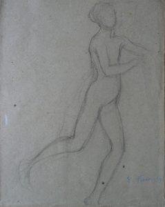 NU FEMININO EM MOVIMENTO - CRAYON SOBRE PAPEL - 31 x 25 cm - c.1906 - COLEÇÃO PARTICULAR