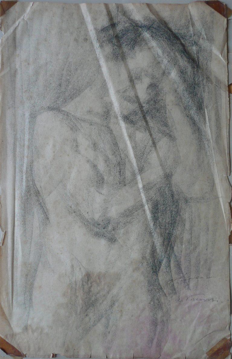 NU MASCULINO COM MÃO NA CABEÇA - CARVÃO SOBRE PAPEL - 43 x 26 cm - c.1900 - COLEÇÃO PARTICULAR
