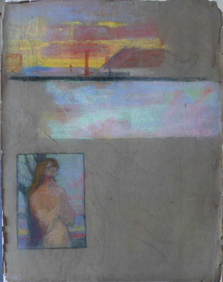 SÃO SEBASTIÃO - UM PRIMEIRO ESTUDO - GIZ SOBRE PAPEL - 64 x 50 cm - c.1897 - COLEÇÃO PARTICULAR
