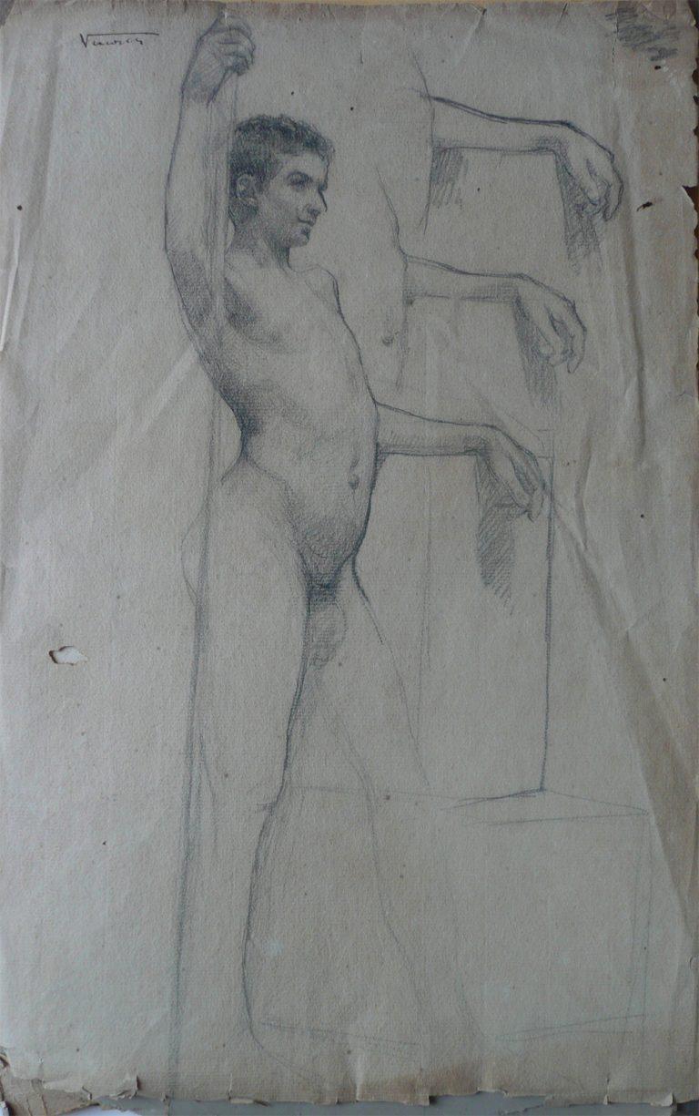 NU MASCULINO DE PERFIL - CRAYON SOBRE PAPEL - 47 x 31 cm - c.1900 - COLEÇÃO PARTICULAR