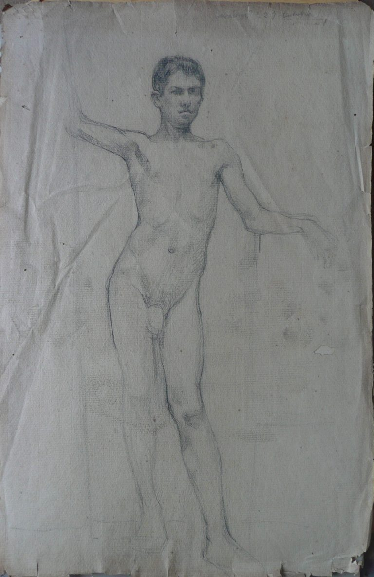 NU MASCULINO DE FRENTE - VERSO DA OBRA D496 - CRAYON SOBRE PAPEL - 47 x 31 cm - c.1900 - COLEÇÃO PARTICULAR