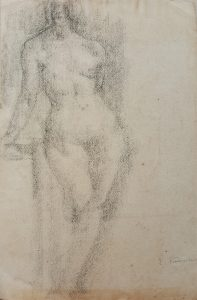 NU FEMININO DE PÉ - CARVÃO SOBRE PAPEL - 43 x 27 cm - c.1900 - COLEÇÃO PARTICULAR