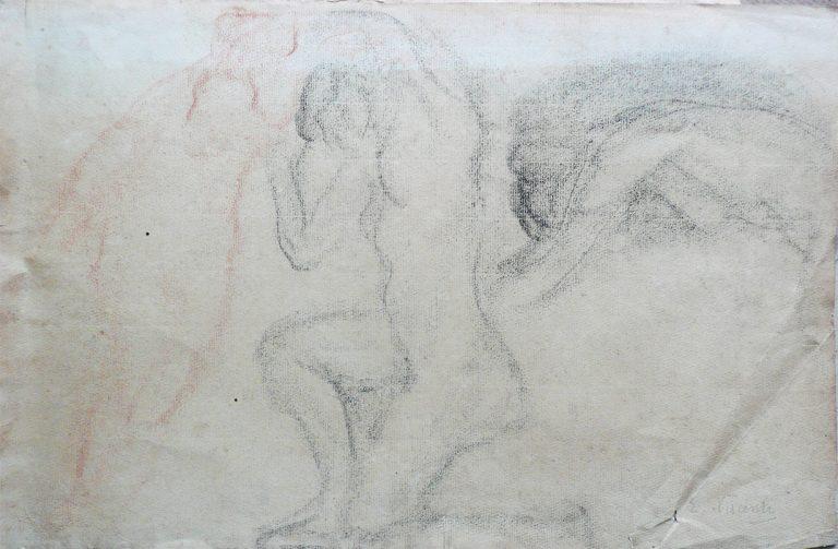 NUS FEMININOS - CARVÃO SOBRE PAPEL - 27 x 42 cm - c.1900 - COLEÇÃO PARTICULAR