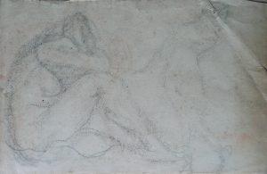 NUS FEMININOS - VERSO DA OBRA D498 - CRAYON SOBRE PAPEL - 27 x 42 cm - c.1900 - COLEÇÃO PARTICULAR