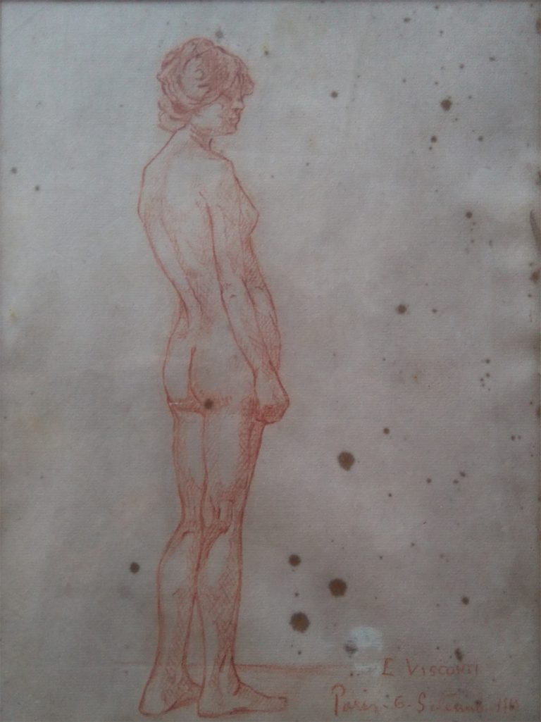 NU FEMININO DE PÉ - SANGUÍNEA - 30,5 x 22,0 cm - 1913 - COLEÇÃO PARTICULAR