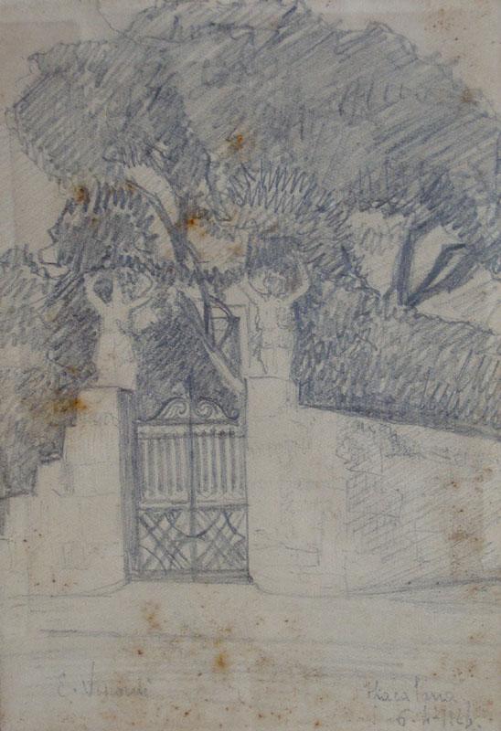 PORTÃO DO MEU JARDIM - CRAYON S/ PAPEL - 16 x 11 cm - 1923 - COLEÇÃO PARTICULAR