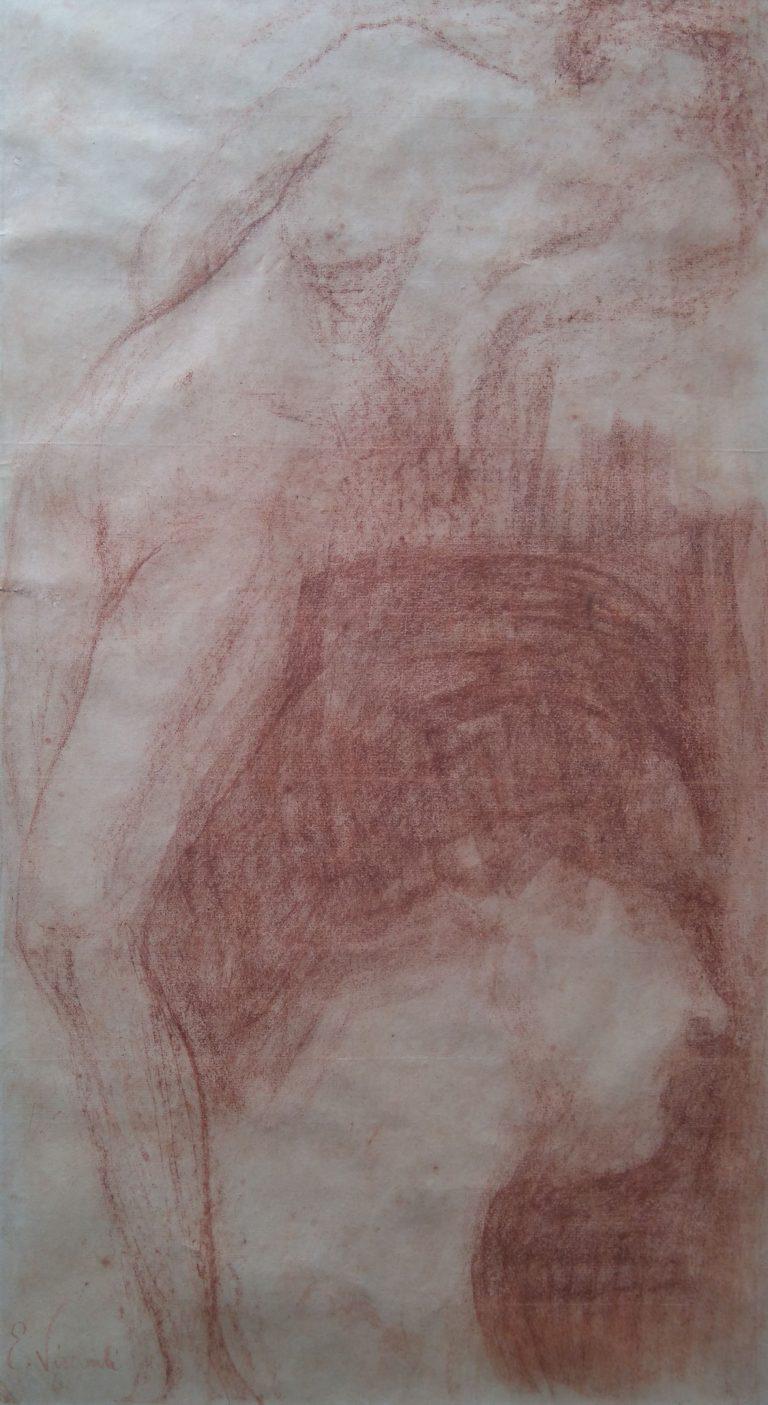 NU E ROSTO FEMININO - SANGUÍNEA - 42 x 25 cm - c.1900 - COLEÇÃO PARTICULAR