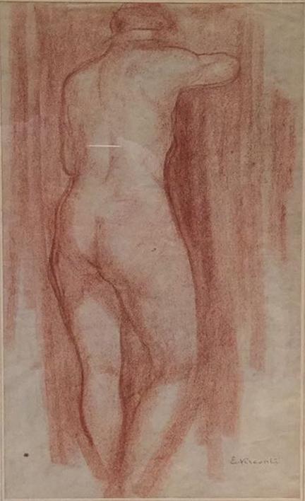 NU FEMININO DE COSTAS - SANGUÍNEA - 41,0 x 24,0 cm - c.1900 - COLEÇÃO PARTICULAR