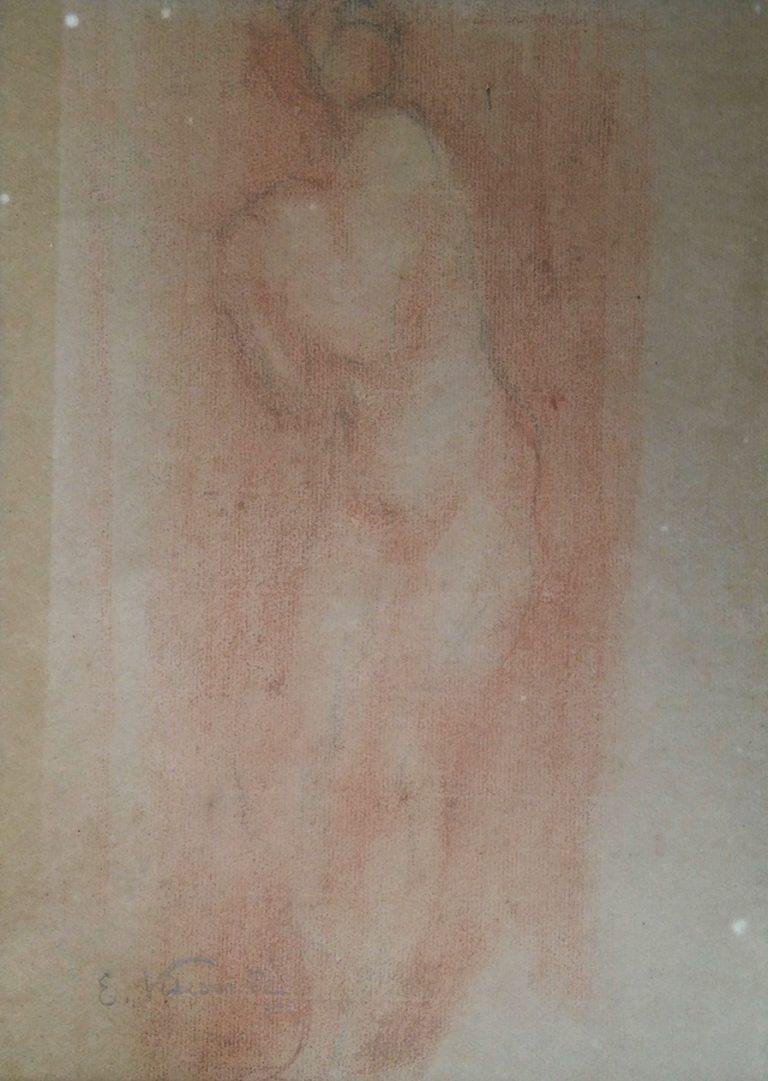 NU FEMININO - LÁPIS SOBRE PAPEL - 29,5 x 22,0 cm - c.1900 - COLEÇÃO PARTICULAR