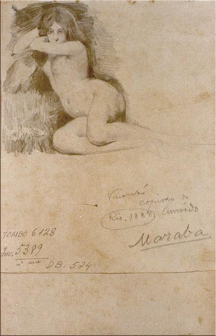 MARABÁ - CÓPIA DE RODOLPHO AMOÊDO - GRAFITE SOBRE PAPEL - 18,7 x 15,1 cm - 1888 - MUSEU NACIONAL DE BELAS ARTES - MNBA - RIO DE JANEIRO/RJ