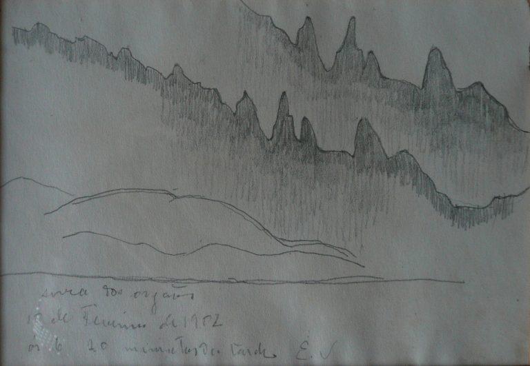 SERRA DOS ÓRGÃOS - CRAYON S/PAPEL - 10 x 15 cm - 1902 - COLEÇÃO PARTICULAR