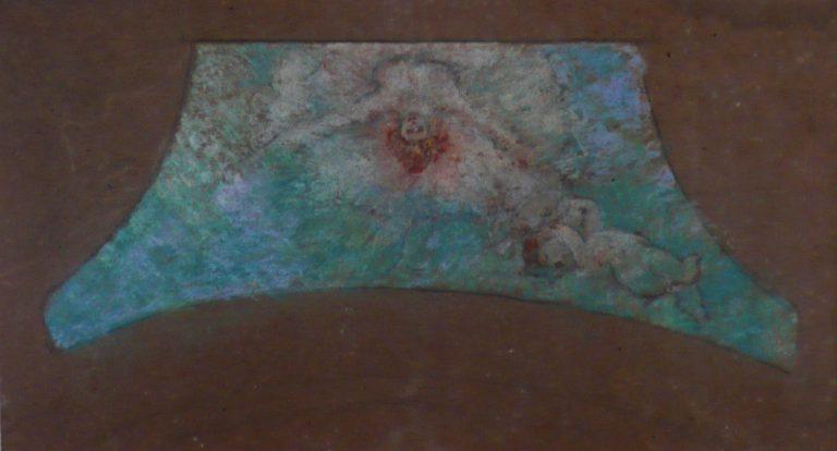 FIGURAS ESVOAÇANTES - ESTUDO PARA O THEATRO MUNICIPAL DO RIO DE JANEIRO - PASTEL - 23 x 40 cm - c.1905 - COLEÇÃO PARTICULAR