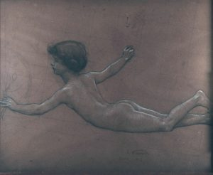 FIGURA FEMININA - ESTUDO PARA O PAINEL DO FOYER DO THEATRO MUNICIPAL DO RIO DE JANEIRO - CARVÃO E GIZ/PAPEL - 48 x 59 cm - 1913 - COLEÇÃO PARTICULAR
