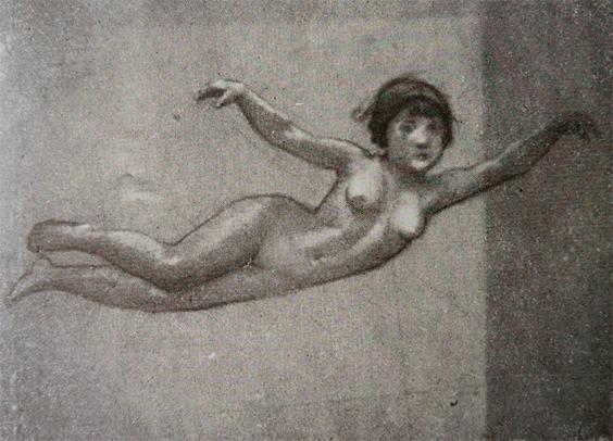 FIGURA FEMININA - ESTUDO PARA O PAINEL DO FOYER DO THEATRO MUNICIPAL DO RIO DE JANEIRO - CARVÃO E GIZ/PAPEL - c.1913 - LOCALIZAÇÃO DESCONHECIDA