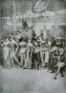 """O PROGRESSO DO RIO - CRAYON E GIZ/PAPEL - CARTÃO PARA O TRÍPTICO """"DEVERES DA CIDADE"""" DO PALÁCIO PEDRO ERNESTO - RIO/RJ - PAINEL CENTRAL - c.1923 - LOCALIZAÇÃO DESCONHECIDA"""