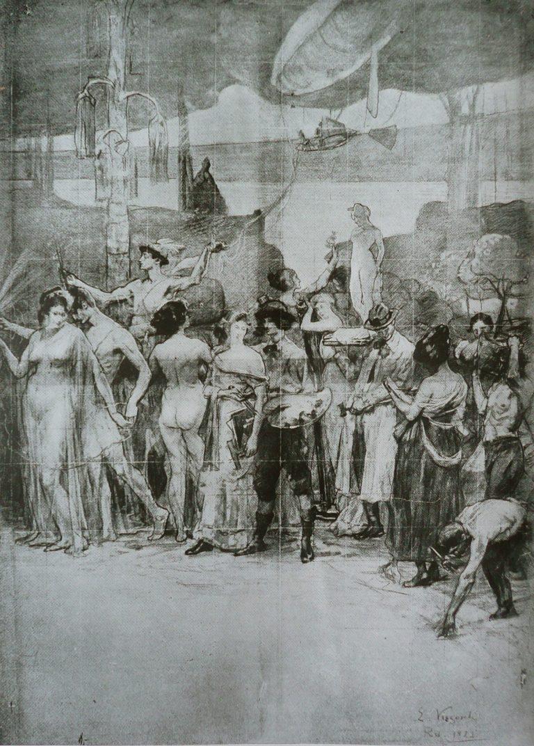 """O PROGRESSO DO RIO - CRAYON E GIZ/PAPEL - CARTÃO PARA O TRÍPTICO """"DEVERES DA CIDADE"""" DO PALÁCIO PEDRO ERNESTO - RIO/RJ - PAINEL CENTRAL - c.1923 - OBRA DESAPARECIDA"""
