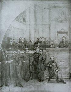 ASSINATURA DA CONSTITUIÇÃO DE 1891 - CARTÃO (LADO ESQUERDO) PARA A DECORAÇÃO DA MESA DIRETORA DA ASSEMBLÉIA LEGISLATIVA DO RIO DE JANEIRO - CARVÃO E GIZ/PAPEL - 1926 - LOCALIZAÇÃO DESCONHECIDA