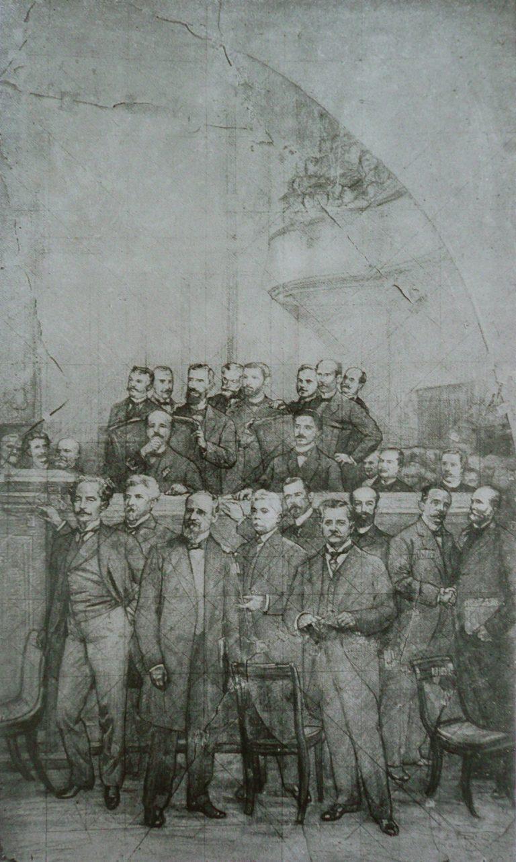 ASSINATURA DA CONSTITUIÇÃO DE 1891 - CARTÃO (LADO DIREITO) PARA A DECORAÇÃO DA MESA DIRETORA DA ASSEMBLÉIA LEGISLATIVA DO RIO DE JANEIRO - CARVÃO E GIZ/PAPEL - 1926 - LOCALIZAÇÃO DESCONHECIDA